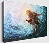 YOUHONG Moder Christ Jesus Wall Art Hand of Jesus Touching Blue Water Christian Canvas Painting Framed Ready to Hang for Home Bedroom Decor (12''HX18''W)