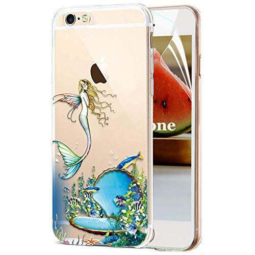 OKZone Cover iPhone 6S / 6 [con Pellicola Proteggi Schermo], Custodia Gel Trasparente Morbida Silicone Sottile TPU Cover Protettiva Compatibile con Apple iPhone 6S / 6 4,7 Pollici (Sirena)