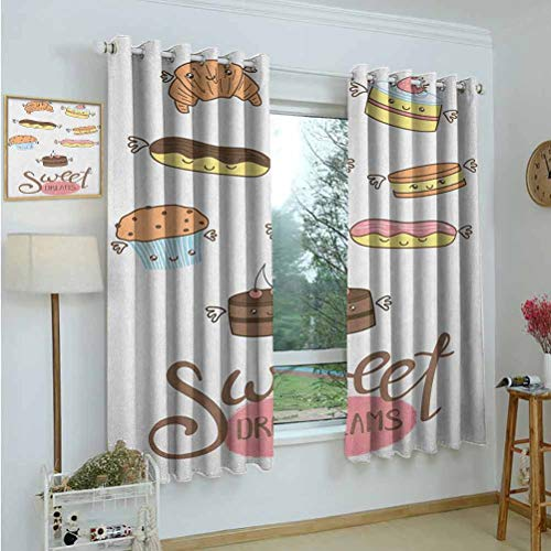 Kitchen Curtains Sweet Dreams,Hand Drawn Sweets &Eacuteclair Croissant and Cake with Wings Pastry Illustration,Multicolor,Rod Pocket Drapes Thermal Insulated Panels Home décor 42'x54'