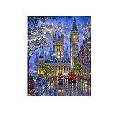 Wrubxvcd Reloj sin Marco Londres, Pintura al óleo Digital de DIY, de Acuerdo con Cifras de la Lona