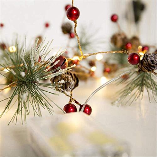 YMKCMC Décoration De Noël Décorations De Noël pour La Maison 2M 20 A Mené Le Cône De Pin De Fil De Cuivre A Mené des Décorations d'arbre De Noël 2M 20 A Mené Le Cône Rouge De Pin De Perle