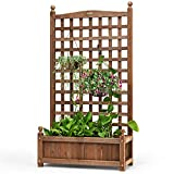 Giantex Wood Planter Free Standing Plant Raised Bed with Trellis for Garden or Yard (25''LX 11''WX 48''H)