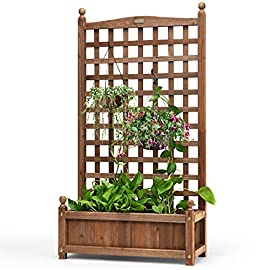 Giantex Wood Planter Free Standing Plant Raised Bed with Trellis for Garden or Yard (25''LX11''WX 30''H) 5 『High Quality Wood Material』: The raw material of this planter with trellis is natural fir, which is solid. The wood has a clear texture and does not crack easily. The whole frame is durable when used outdoors. The feature which is no fear of sun and rain can extend the service life. 『Powerful Considerate Design』: This planter has a built-in trellis that provides a place for climbing plants to grow. In addition, the trellis can not only cover climbing plants, but also hang bracket plant. There are two holes on the bottom plate, which facilitate the timely discharge of excess water. 『Large Space for Planting』: Our outdoor planter with trellis has a large flower box which can hold a considerable number of plants and flowers. You can put the soil into this planter and plant flowers or vegetables that you like. Moreover, a lot of hanging orchid and climbing plants can be hanged on the trellis.