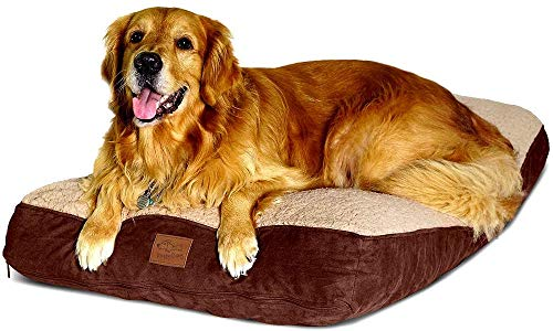 Interchangeable 2-in-1 Dog Bed. Super Extra Large with Two Removable Covers and Waterproof Liner. Made for Big Dogs up to 90 pounds and more. 40x28 and Stuffed 6 Inches High with Memory Foam Pieces.