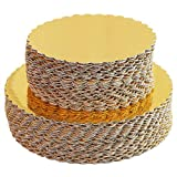 [30pcs]6' Gold Cakeboard Round,Disposable Cake Circle Base Boards Cake Plate Round Coated Circle Cakeboard Base 6inch,Pack of 30 (Gold, 30)
