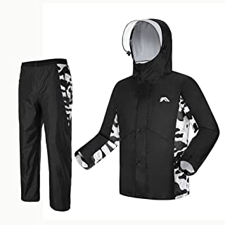 Radvihay Raincoat Suit Waterproof Jacket and Trousers Set Hooded Rainwear Raincoat and Rain Pants Suit for Mens Womens Out...
