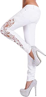 JOFOW Womens White Jeans Side Patchwork Lace Mesh Sexy Low Waist Stretch Long Pants