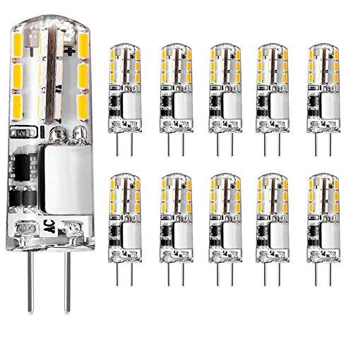 G4 LED 1.5W Lampen, 10 Packs 12V AC/DC Warmweiß Led Birnen Stiftsockel 180LM Warmweiß 3000K, G4 Glühlampe ersetzt 20W Halogenlampen Wärmeableitend Nicht Dimmbar Kein Flackern [Energieklasse A+]