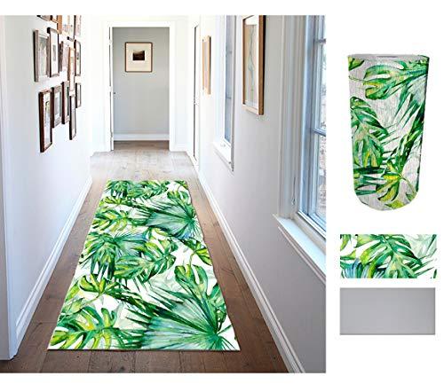 COMERCIAL CANDELA FELPUDOS Y ALFOMBRAS Alfombra de Pasillo de Textil Resinado Antimanchas, Lavable | Base PVC Antideslizante y Aislante Diseño Palmeras (52_x_200 CM)