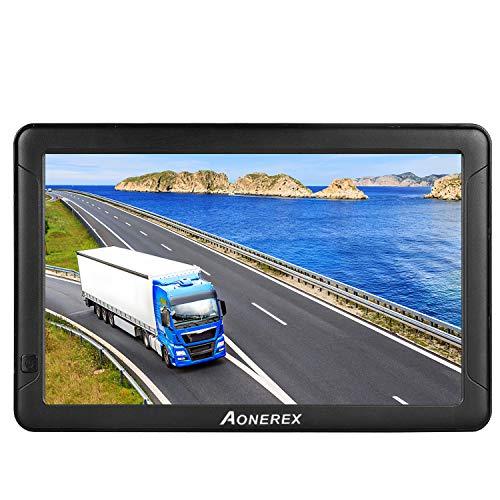 GPS Navigation für Auto, Aonerex 9 Zoll Touchscreen Navigationsgerät für LKW PKW KFZ 8GB 256MB Navi mit POI Blitzerwarnung Sprachführung Fahrspur Lebenslang Kostenloses Kartenupdate EU 52 Karten
