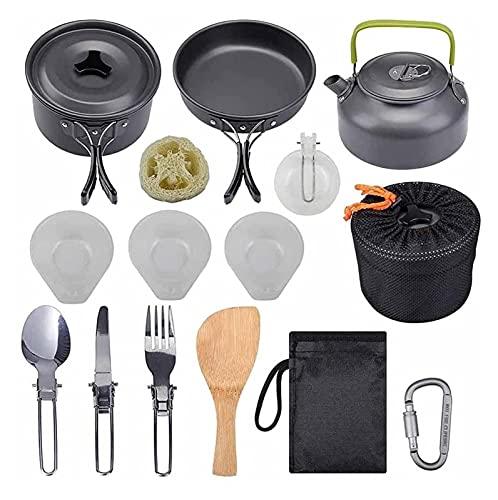 LHY Tragbare Camping Kochgeschirr Set Outdoor Kochtöpfe Set Wasserkocher Pantableware Kit Küchenutensilien Wandern Picknickbedarf