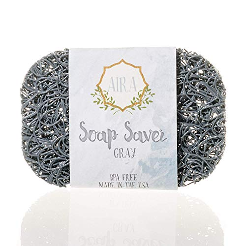 Aira Soap Saver - Soap Dish & Soap Holder Accessory - BPA Free Shower & Bath Soap Holder - Drains Water, Circulates Air, Extends Soap Life - Easy to Clean, Fits All Soap Dish Sets (Gray, 1 Pack)