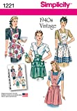 Simplicity 1221 1940's Vintage Fashion Women's Apron Sewing Pattern, Sizes S-L