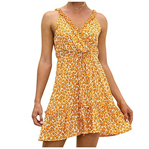 Julhold Slip Dress Ärmelloses Kleid Damen Floral Maxi Sexy V-Ausschnitt Rüschenkleid Boho Kurze Kleider Strandrock(Orange,M)