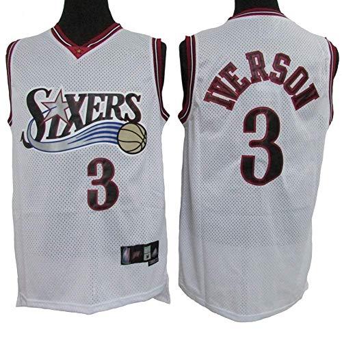 76Ers # 3 Allen Iverson Basketball Trikot, Cooles, Atmungsaktives Swingman Classic Ärmelloses Unisex Sport Weste T-Shirt,Weiß,L:180cm/75~85kg