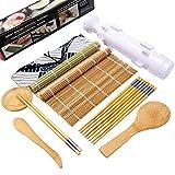 Lebsitey Sushi Making Kit Including Sushi Rolling Mats, Chopsticks, Paddle, Spreader, Sauce Dish, Rice Making Tool, Storage Bag, Bamboo Sushi Roller Maker Machine Mold
