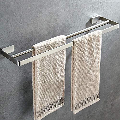 Wtbew-u Toallero para baño, toallero grueso de acero inoxidable 304 mate doble montado en la pared (barra doble) gris 40 cm (color: gris, tamaño: 40 cm)