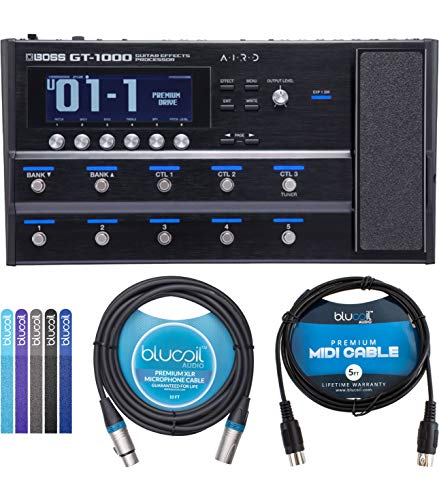 BOSS GT-1000 Multi Effects Processor with Expression Pedal for Guitars Bundle with Blucoil 5-FT MIDI Cable, 10-FT Balanced XLR Cable, and 5-Pack of Reusable Cable Ties