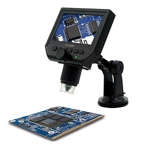 Inlight デジタル顕微鏡 4.3インチHD LED 1080Pビデオモード 3.6MP 1〜600倍連続倍率 USB充電式 6時間以上