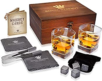 Royal Reserve Whiskey Stones Gift Set Artisan Crafted Chilling Rocks Scotch Bourbon Glasses and Slate Table Coasters – Gift for Guy Men Dad Boyfriend Anniversary or Retirement