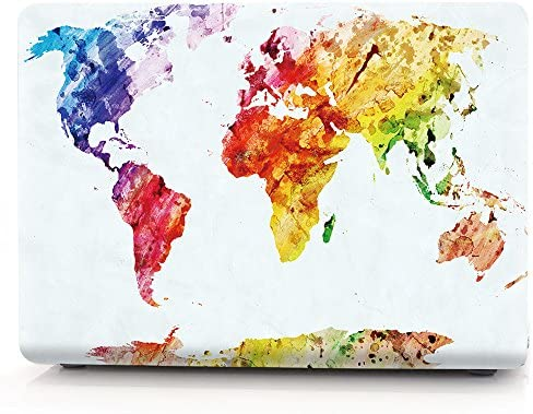 HRH Watercolor World Map Laptop Body Shell Protective PC Hard Case for MacBook Old Pro 13 Inch product image
