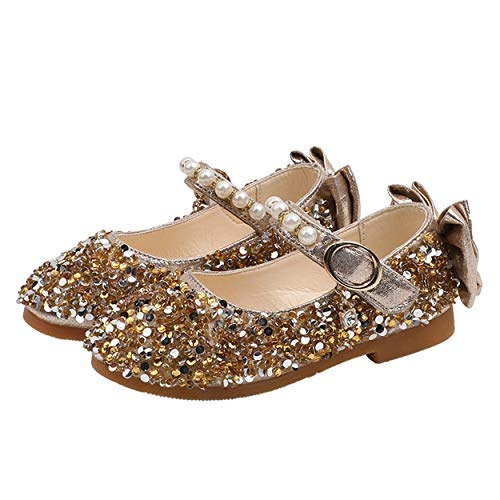 YOSICIL Mädchen Prinzessin Schuhe Glitzer ELSA Schuhe Flache Ballerinas Kinder Festliche Schuhe Fasching Karneval Halloween Tanzball Party Gold Silber Pink Gr.21-35
