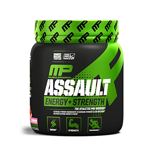 MusclePharm Assault Sport Pre-Workout Powder with High-Dose Energy, Focus, Strength, and Endurance, Watermelon, 30 Servings