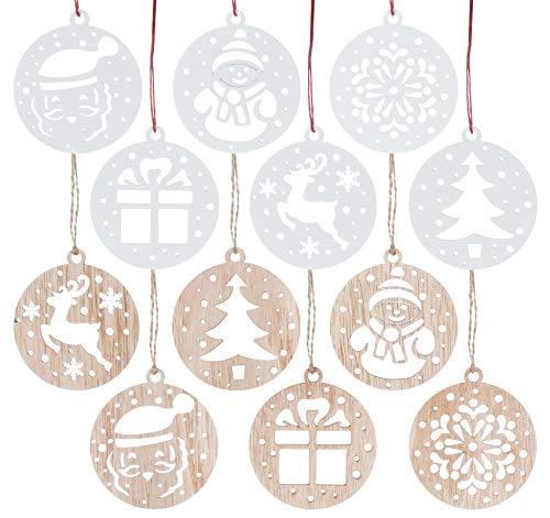 Sweelov 12tlg Holz Weihnachts-Anhänger Holzscheiben Christbaumanhänger Schneemann Schneeflocke Santa Baumschmuck Holz Weihnachtsdeko zum Aufhängen, Weiß & Natur