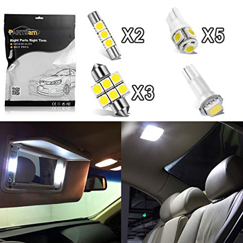 Partsam 11PCS White Interior LED Light Package Kit + License Plate Lights Replacement for Acura TSX 2004-2008