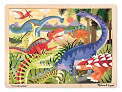 1. Melissa & Doug Dinosaurs Wooden Jigsaw Puzzle With Storage Tray (24pcs)