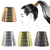 4PCS Plastic With Teeth Circle Cuff Ponytail Cover Punk Hair Rings Ponytail Holder Hair Headwear for Lady Women