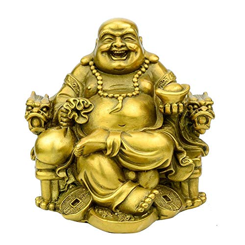 LINGS Laughing Buddha Statues,Pure Brass Chinese Feng Shui Decor Home Office Wealth Good Luck Prosperity Figurines,Two Colors,Best Gift,Gold