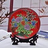 GUOOK Chinesia Art Vintage Jingdezhen cerámica moderna hängende placa decoración Home salón decoración Set Ronda disco