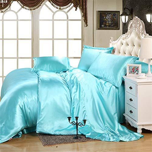 4PCs Satin Sheet Set High Thread Count 100% Satin Sheet Set Sky Blue Solid Twin XL Sheets Fits Mattress 21' Deep Pocket Soft & Silky Satin Bedsheet and Pillowcase, Luxury Bedding