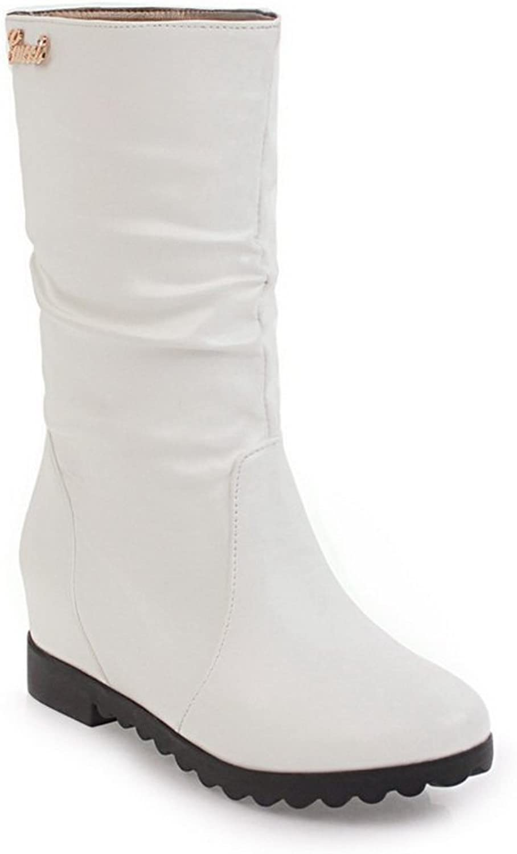 AdeeSu Womens Ruched Mid-Calf Sequins No-Closure Urethane Boots SXC02473