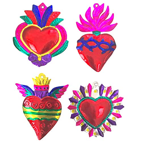 Milagros Charms - Tin Painted Sacred Heart Ornaments - Mexican Art (Set of 4) - Large - Multicolor Grandes