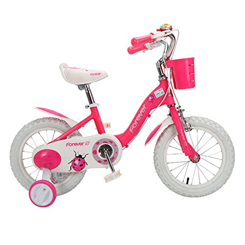 Kinderfahrräder Einräder männliche und weibliche Kinder 3-8 Jahre alt Prinzessin Fahrrad 14-Zoll-Pedal Kinderwagen (Color : Pink, Size : 14Inch)