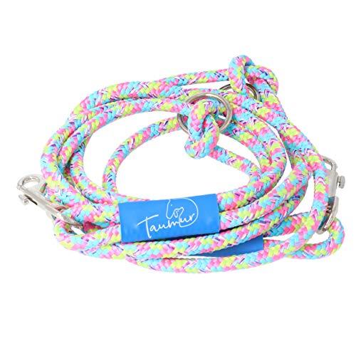Taumur Barnaafmaeli - zweifach verstellbare Hunde-Tauleine - blau/rosa/gelb - Leine für mittelgroße Hunde aus robustem PPM
