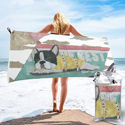 NoneBrand French Bulldog,Black and White Pied Frenchie Large Travel Microfiber Bath Towels Quick Dry Beach Blanket Towels Super Absorbent -Perfect for Camping,Gym,Beach,Swimming,Hiking Yoga