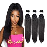 Brazilian Kinky Straight Hair Bundles 3 Bundles 300 Grams 100% Unprocessed Spiral Curl Human Hair Weave Extensions Natural Color 10 12 14 Inch Natural By Niuidnng