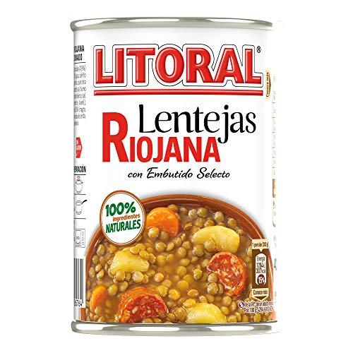LITORAL Lentejas Riojana - Plato Preparado de Lentejas Riojana Sin Gluten - 430g