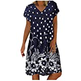 LUDAY Women V-Neck Short Sleeve Polka Dot Summer Dress Casual Tunic Dress T-Shirt Dresses Midi Dress Knee Length