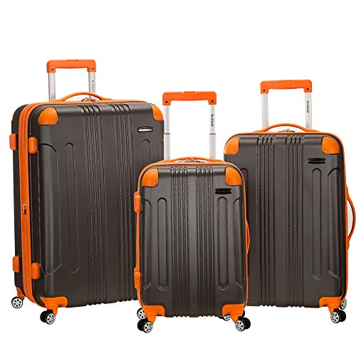 Rockland London Hardside Spinner Wheel Luggage, Charcoal, 3-Piece Set (20/24/28)