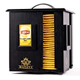 MATAYA Tea Box – Black Bamboo Wood Tea Caddy – Rotating Tea Bag Holder with 4 Compartments – Tea Storage for Up to 200 Small and Big Tea Bags (Tea Bags are not Included)