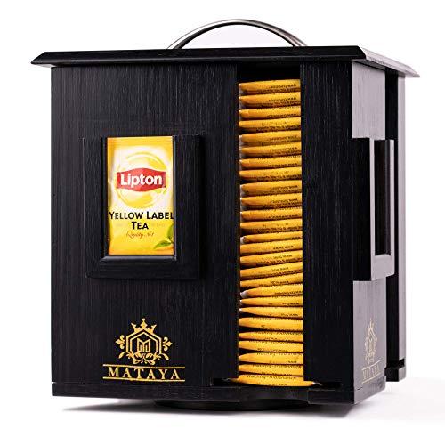 MATAYA Teebox Aus Bambus Holz - Rotierende Teebeutel Aufbewahrungsbox Mit 4 Fächer - Tee Aufbewahrung Für ca. 200 Teebeutel - Schwarz - Groß - 24 x 17,5 x 20 cm (Teebeutel sind nicht enthalten)