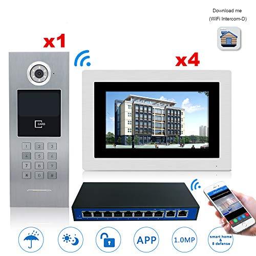 GW 7 '' Pantalla táctil WiFi IP Video Video de Puerta Intercomunicador + Interruptor 4 Pisos Edificio Control de Acceso Sistema de Soporte Contraseña/Tarjeta IC