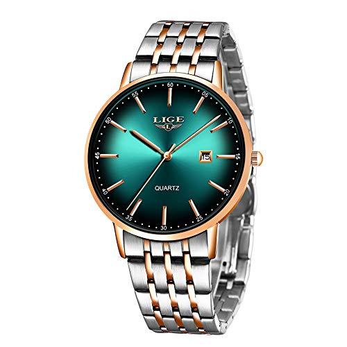 LIGE Hombre Relojes a Prueba de Agua de Acero Inoxidable Reloj de Vestir analógica Reloj de Cuarzo Reloj de Negocios Hombres Caballeros Moda Relojes Simples Verde