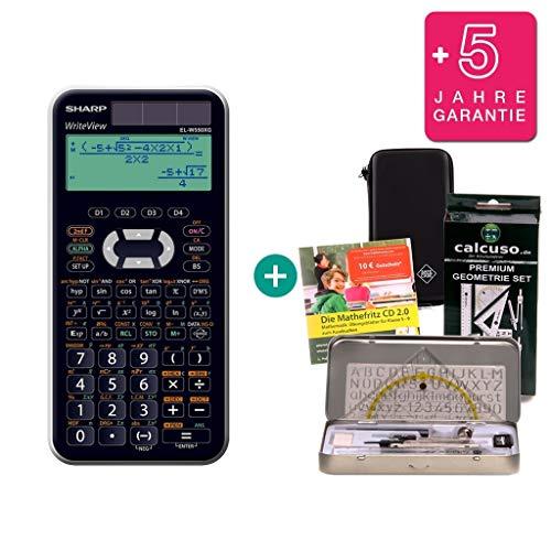 Streberpaket: Sharp EL-W550XG + Schutztasche + Lern-CD (auf Deutsch) + Geometrie-Set + Erweiterte Garantie