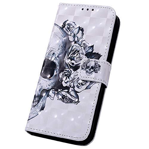 Surakey kompatibel mit Huawei Y7 2019 Hülle Handyhülle 3D Muster PU Leder Tasche Schutzhülle Brieftasche Handytasche Flip Hülle Wallet Tasche Etui Lederhülle für Huawei Y7 2019,Schädel