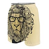 KOiomho Hombres Personalizado Trajes de Baño,Retrato de Personaje de León con Gafas y Pajarita Hipster Smart Cool Dandy,Casual Ropa de Playa Pantalones Cortos